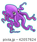 Cartoon purple octopus. Inhabitants of the seas and oceans isolated on white background. Vector 42057624
