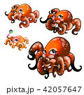 Set of cute red octopus isolated on white background. Vector cartoon close-up illustration. 42057647