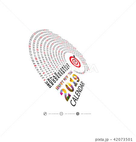 2019 calendar template spiral calendar のイラスト素材 42073501 pixta