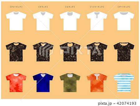 Tシャツ ネックいろいろ はんこ&水彩 42074193