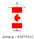 Canadian flag on the metallic cross pole, vector 42075415