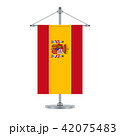 Spanish flag on the metallic cross pole, vector 42075483
