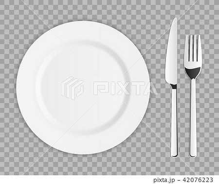 Creative vector illustration top view cutlery set of silver fork, spoon, knife isolated on 42076223