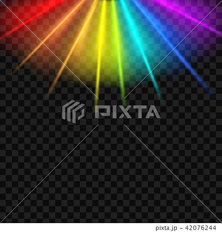 Creative vector illustration of rainbow glare spectrum isolated on transparent background. Art 42076244