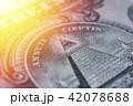 US Dollar bill, super macro, close up photo. Details of bills. 42078688