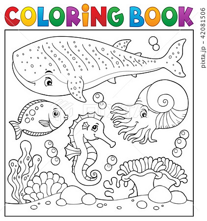 coloring book sea life theme 2のイラスト素材 42081506 pixta