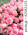 light pink bush roses flowers in vase on wooden table. Beautiful summer bouquet. Arrangement with 42082125