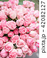 light pink bush roses flowers in vase on wooden table. Beautiful summer bouquet. Arrangement with 42082127