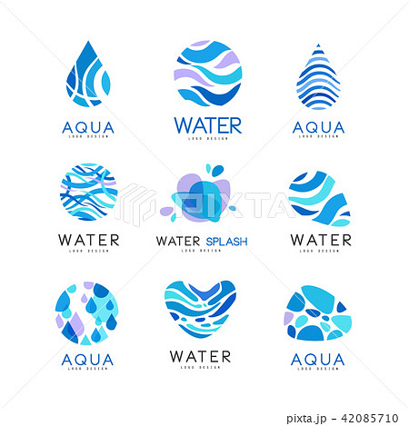 set of blue aqua logos labels for water bottles pure and fresh