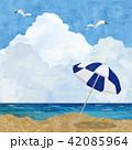 海とビーチパラソル 42085964