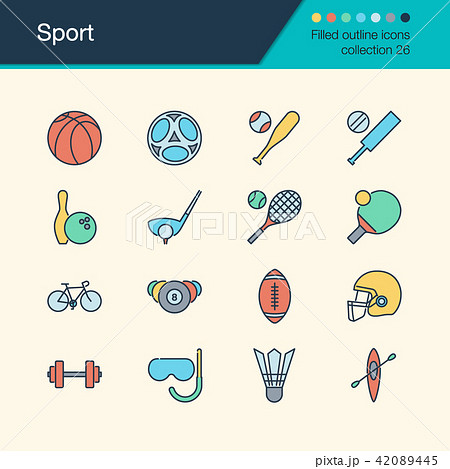 Sport icons. Filled outline design collection 26. 42089445