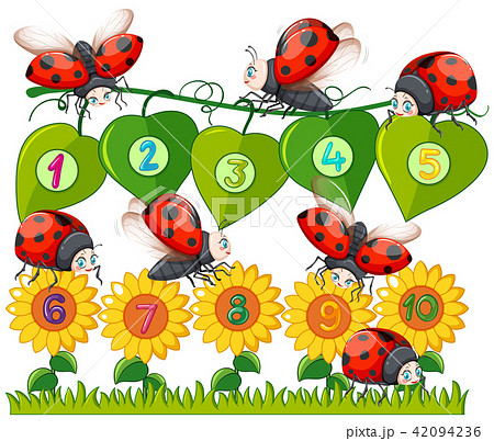 A Number with Ladybug and Flower 42094236