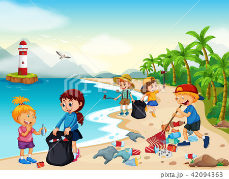 Volunteer Children Cleaning Beach 42094363
