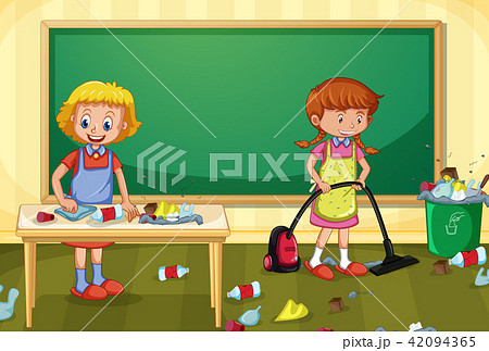 Maid Cleaning Dirty Classroom 42094365