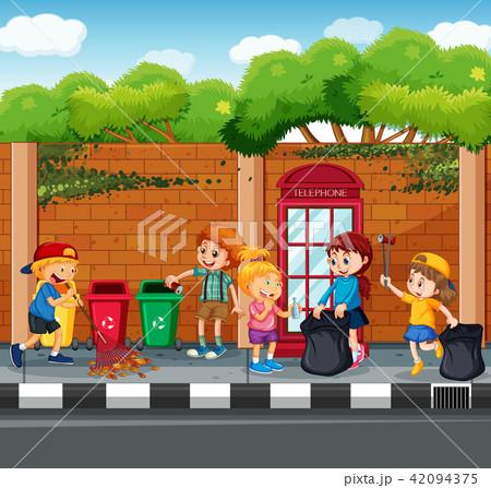 Happy Children Collecting Garbage 42094375