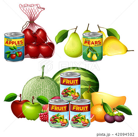 A Set of Fresh and Canned Fruits 42094502