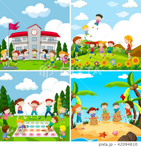 Set of scence of children playing 42094610