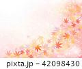 ピンクキラキラ背景と紅葉 42098430