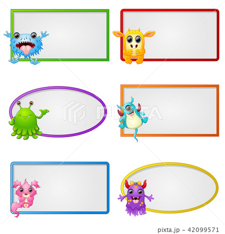 Empty frame with little monster character  42099571