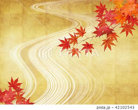 和-背景-秋-紅葉-金-流れ 42102543