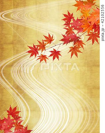 和-背景-秋-紅葉-金-流れ 42102556