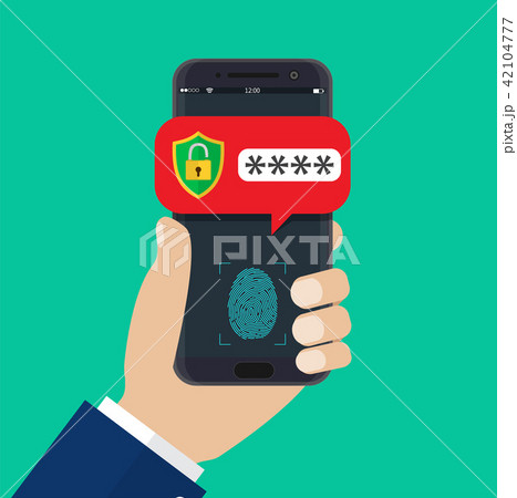 Hand with mobile phone unlocked 42104777