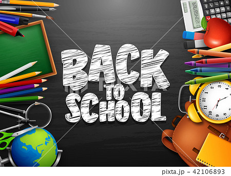 Back to school background with stationery and scho 42106893