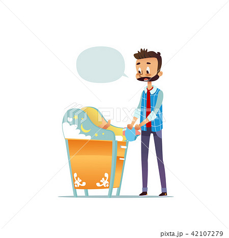 Bearded man changing diaper of newborn baby. Dad taking care of child and blank speech bubble 42107279