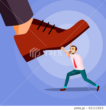 Big Foot Stepping On Businessman Vector. Power. Fights Against Giant Foot. Crisis. Domination 42111924