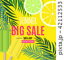 Abstract Summer Sale Background with Palm Leaves and Ice Cream. Vector Illustration 42112533