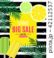Abstract Summer Sale Background with Palm Leaves and Ice Cream. Vector Illustration 42112537