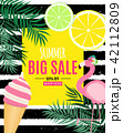 Abstract Summer Sale Background with Palm Leaves, flamingo and Ice Cream. Vector Illustration 42112809