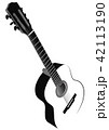 Black and white image of acoustic guitar 42113190