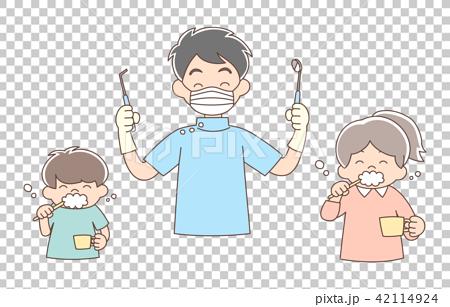 歯科医_笑顏_上半身_男性と子ども 42114924