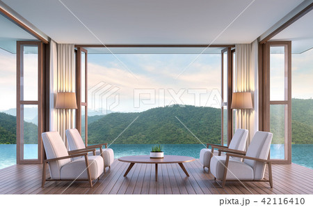 Pool villa living room 3d render 42116410