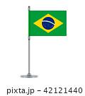 Brazilian flag on the metallic pole, vector 42121440