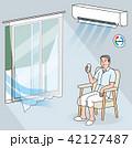室内のシニアの熱中症予防 42127487