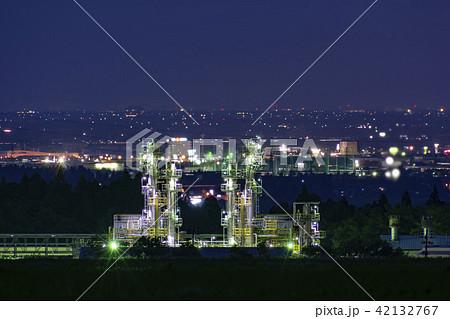 長岡市越路原からの工場夜景と新潟市方面の夜景 42132767