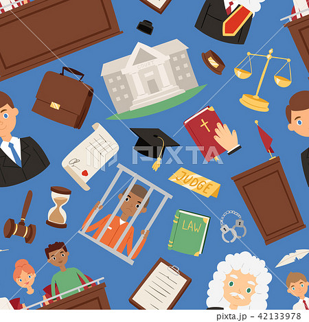 Law justice vector judgement illustration of people lawyer, Judge jury and suspected illegal 42133978