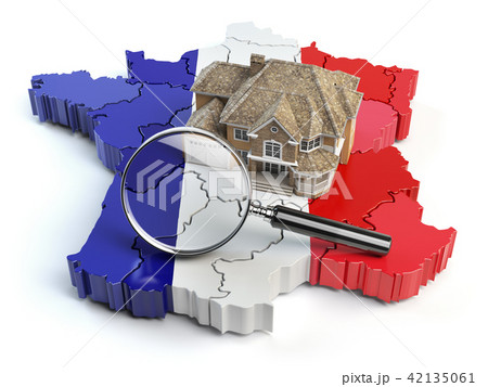House and loupe on the map of France. Real Estate 42135061