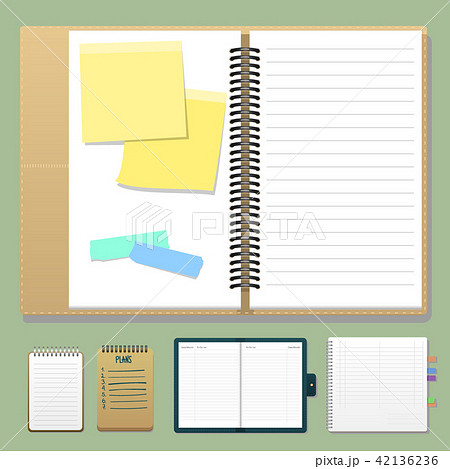 Set of open realistic notebooks with pages diary office sheet template booklet and blank paper 42136236