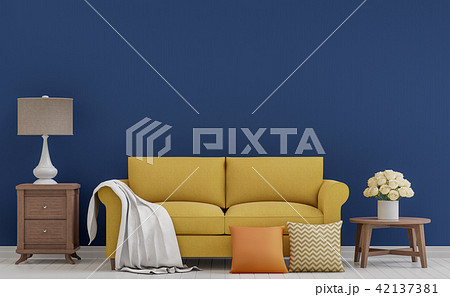 Colorful vintage living room 3d render 42137381