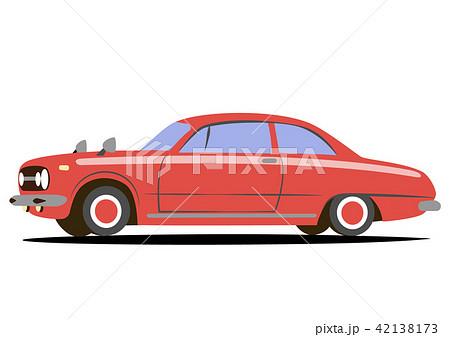 国産レトロスポーツカー 赤色系 自動車イラスト 42138173