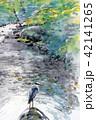 アオサギ  野鳥 清流 手書き 水彩画 42141265