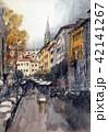 アレッツォの町並み イタリア アレッツォ 手書き 水彩画 42141267