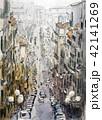 マルセイユの町並み フランス 手書き 水彩画 42141269