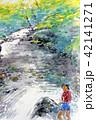 小川と少女 水彩画 手書き 42141271