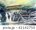JR烏山線  滝駅  龍門の滝 水彩画 手書き 鉄道絵画 42142750
