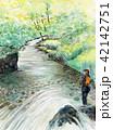 川釣り 釣り人 清流 手書き 水彩画 鮎つり 42142751