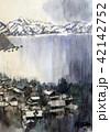 駿河湾 雪景色 水彩画 手書き 42142752
